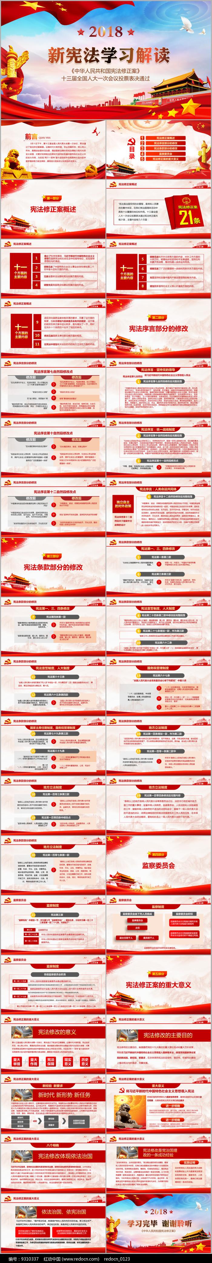 中华人民共和国宪法修正案解读PPT图片