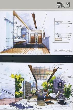 办公楼露台及走道卫生间设计