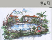 别墅前水池景观 JPG
