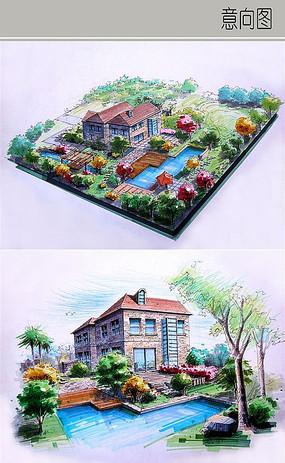 别墅庭院景观手绘图