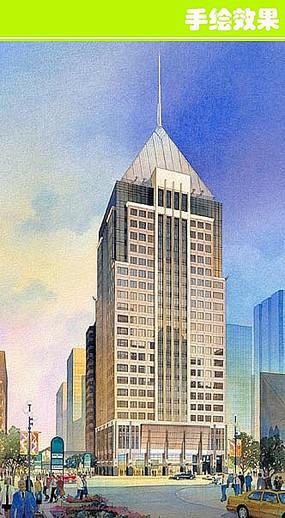 城市大厦手绘图