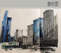 城乡城市建筑群手绘 JPG