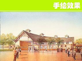 谷仓建筑手绘