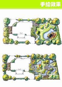 建筑和公园手绘