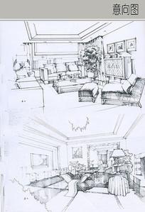 客厅黑白线稿