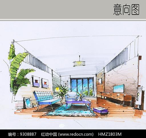 原创设计稿 方案意向 手绘素材 客厅装修设计  请您分享: 素材描述:红