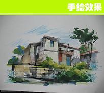 老式建筑手绘