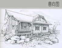 木屋建筑线稿 JPG
