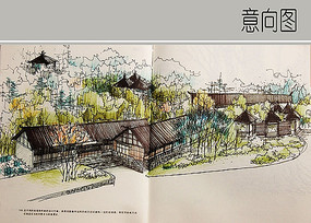 木屋景观手绘图