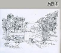 木栈桥绿化景观手绘图