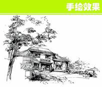 木质建筑线稿