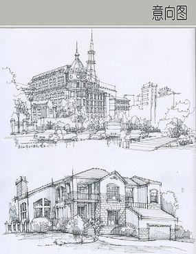欧式建筑线稿