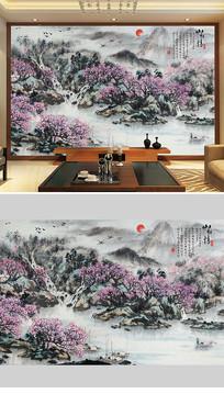 山水情水墨背景墙装饰