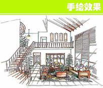 手绘双层建筑室内