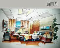卧室手绘透视图 JPG
