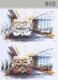 现代餐厅田园风格设计