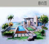 现代度假别墅景观手绘图
