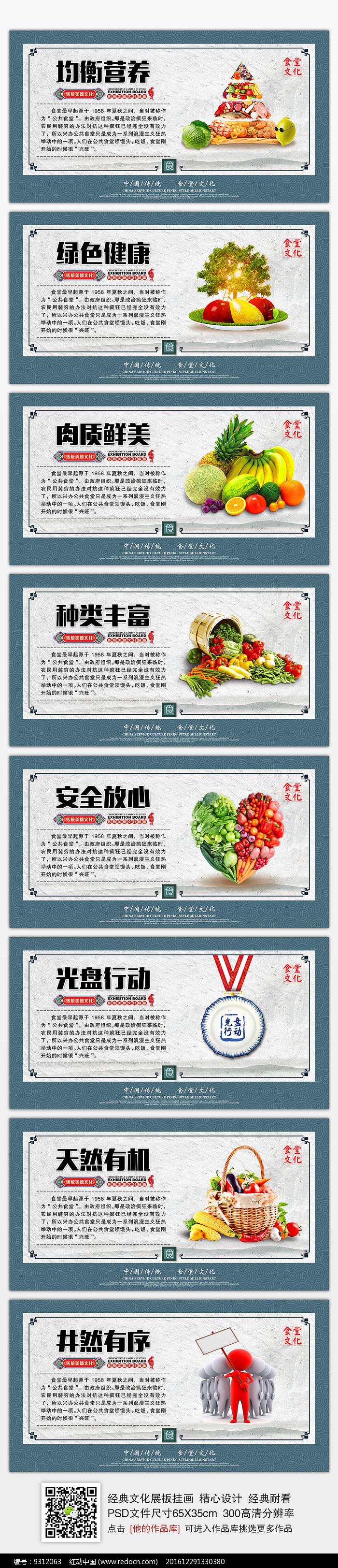 整套经典简洁食堂文化展板挂画图片