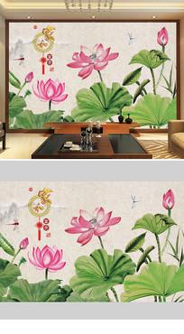 中国风水墨荷花背景墙