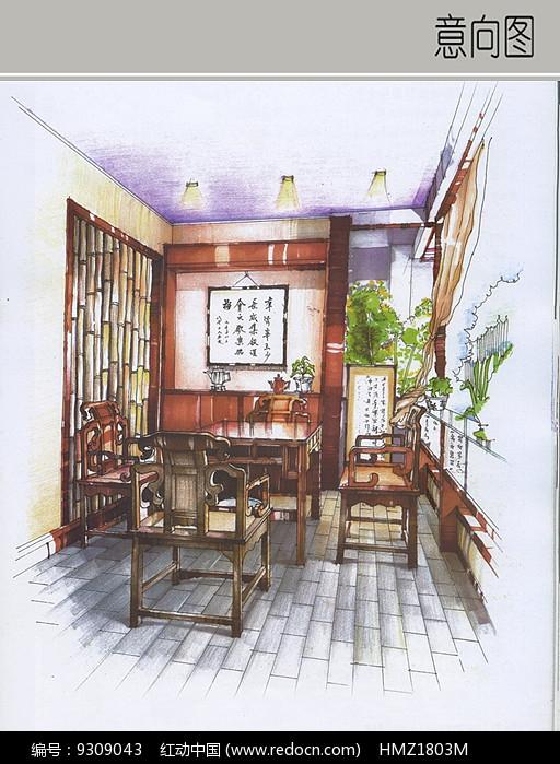 中式特色茶室手绘
