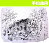 砖房手绘线稿