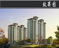L字形住宅高层单体透视