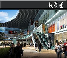 北京某广场自动扶梯效果图