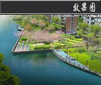 不规则住区滨水景观效果图
