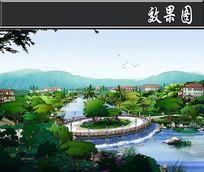 惠州某住宅景观桥方案一效果图