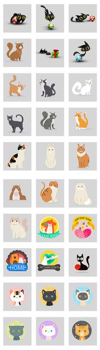 卡通猫咪元素