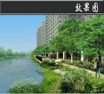 某方形住宅区滨河平台效果图