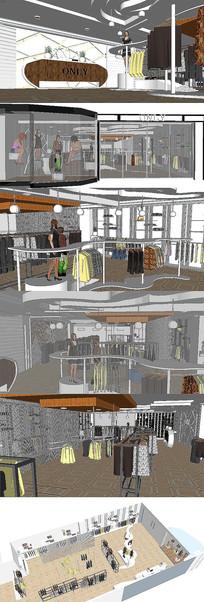 服装店专卖店室内设计SU模型