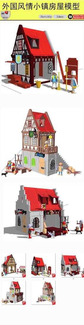外国风情小镇房屋模型