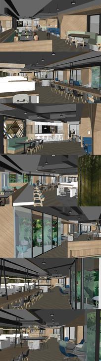 现代风格茶餐厅SU模型