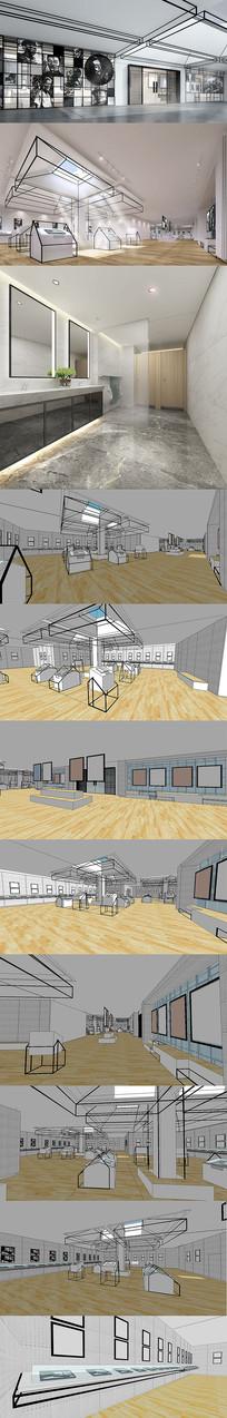 展览馆展厅纪念馆设计SU模型