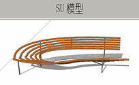U型木条坐凳