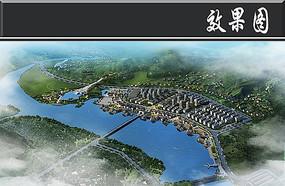 滨水景观鸟瞰图PSD