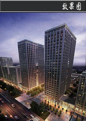 城市高层建筑夜景效果图PSD