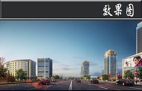 城市街道景观效果图PSD