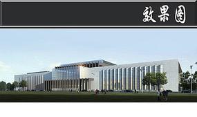 大型图书馆建筑效果图PSD