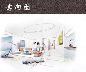 简洁客厅手绘