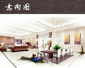 客厅餐厅手绘效果图