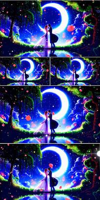 浪漫情侣月下亲吻浮动粒子视频