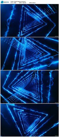 蓝色三角形光线隧道穿梭视频