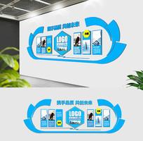 蓝色通用大气企业公司形象墙