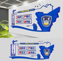 蓝色通用公安警营文化墙