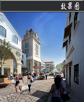 欧式广场商业街道效果图psd图片