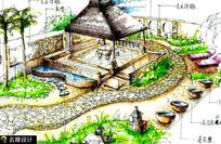 手绘庭院场景效果图