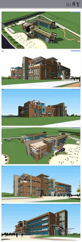 现代个性校园建筑模型
