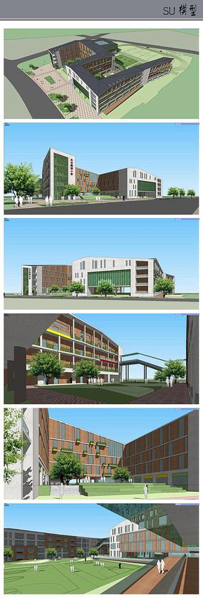 现代中式学校校园模型